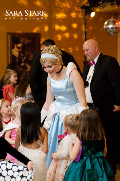 Cinderella talks to a group of little girls during Snow Ball, a father daughter dance, at Christ the King Catholic Church in Des Moines, Iowa on Friday, January 17th, 2013. SARA STARK/SPECIAL TO THE REGISTER