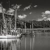 Calabash fishing trawler in black and white.