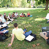 Wythe Whiting, associate professor of psychology, teaches a class on the Front Lawn.