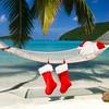 Santa hats and stocking at a tropical Caribbean beach