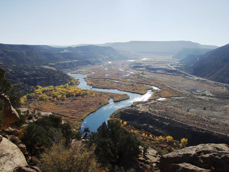 Looking upstream from the Simon Point area from the North Rim of the Canyon.  At the bottom is 'Death Row', Frustration Point, Baetis Bend, Lunkers Alley and The Lower Flats - Photo by Paul Zimmerman, copyright Float 'N Fish