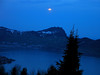 Moon over Lake Lucern near Emmentton, Switzerland