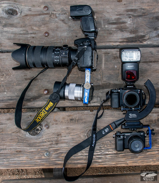 45surfer Bracket for Simultaneous Stills & Video! Nikon D800E + 70-200mm F/2.8 Nikkor Lens + Sony NEX-6 vs. Sony A7r + 35mm F/2.8 Carl Zeiss Lens + Sony NEX-6