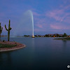 Sunset at Fountain Lake in Fountain Hills, June 12, 2014