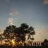Sunset and silhouettes on the levee.
