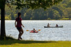 A kayak and canoe share Lake Galena in Peace Valley Park in New Britain Township.   Saturday, July 5, 2014.    Phtoto by Geoff Patton