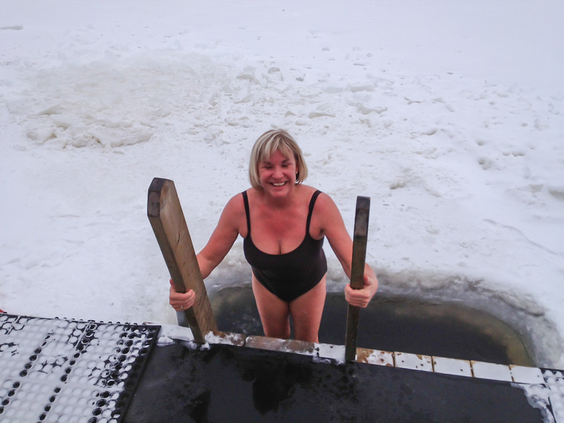 Crazy enough to dip into the frozen river at the Nordic Spa in Quebec.