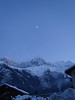 Moon over the Aiguille du Midi as we're leaving