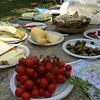 Goat and sheep cheeses with olives, tomatoes, and fennel; a wonderful roadside picnic
