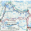 "MAP 1:   Logging and wilderness portions of Pow Wow Trail (PWT).  Following the BWCA Wilderness Act of 1978 the USFS built a connecting link (dashed line in green)  between two logging roads (red lines).  This trail is about 32 miles long.  There was also a Pow Wow Trail East Loop 27 (?) miles long.  In 1993, the USFS created new BWCAW management plan and in doing so removed both West and East Pow Wow Trail loops from the inventory - without any public notice what so ever!  Only because of public outcry, the USFS reneged, albeit partially, and put the west loop back into the SNF trail inventory.  In 2013, USFS marked portion of trail with blue diamonds.  Note:  to get a full view, mouse over RH side of the map and click on ""original."""