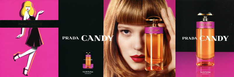 PRADA Candy 2012 Spain<br /> 4 pages (2 recto-verso) with scented sticker in matte cardboard<br /> MODEL: Léa Seydoux (actress, France), PHOTO: Jean-Paul Goude, illustrator: François Berthoud