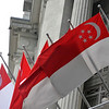 Singapore flag at the Fullerton Hotel in Singapore