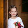 Cute portrait of a young bridesmaid at The Holy Family Church