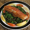 Grilled Salmon on a Bed of Kale and Bacon…..mmmmm
