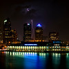 Tampa, Florida - Downtown Night Panorama with Lightning...