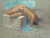 Pastel No. 2. Nude on block