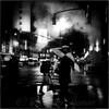 A Foggy Night in New York Town - Checkered Umbrella