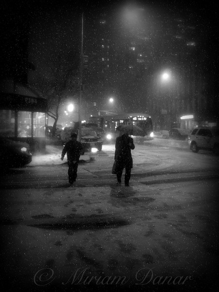 Men and Bus in Snow
