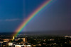 Rainbow from Petroleum Club at top of Chase building in Oklahoma City