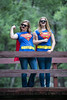 Rebecca Halley and Sarah Forseth, first cousins in their SuperGirl costumes with capes. Taken July 27, 2014 at the Chalk Creek Trailhead of the Colorado Trail, near Buena Vista, Colorado, USA.