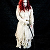 Crazy Lady with Sword Horror themed photo shoot