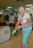 Jean Vetter of Havertown has her eyes on the pins at the Delco Senior Games at Sproul Lanes in Springfield. Photo by Anne Neborak, Delco News Network.