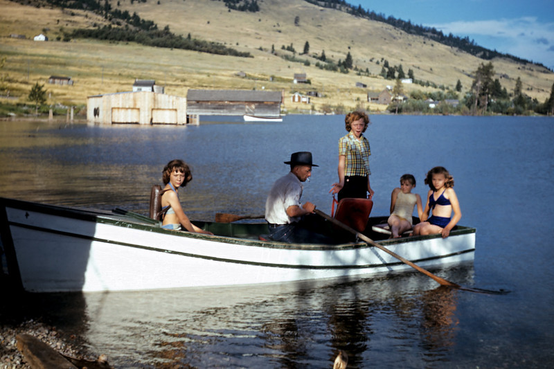 Hazel snapped this slide of Sally, (bow of boat), David and Janey, (standing), Adkins and Alberta and Evelyn, (blue bikini), in Flathead lake sometime in the late 1940s. The original slide was heavily scratched and blurred but the Kodachrome colors were well preserved.