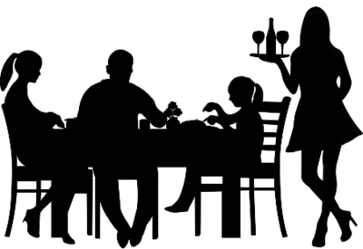 Eating out - silhouette - black