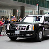 "President Obama in 'the beast"" in midtown NYC"
