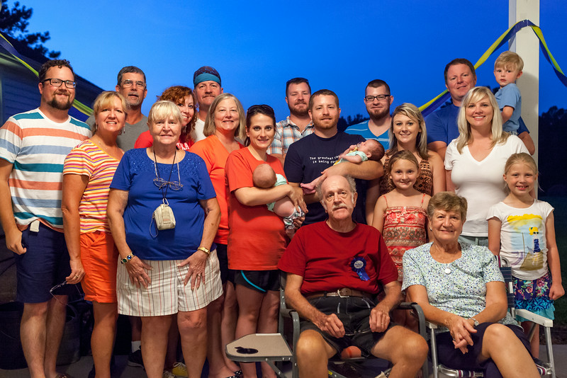 July 12<br /> <br /> Happy birthday Papaw!<br /> <br /> This evening we all went over to Uncle Jim and Aunt Melissa's place to celebrate Papaw's 73rd birthday. There was cake, there were burgers, hot dogs, corn... ALL THE FOOD. We even got everyone together for a rare group photo! This will definitely be one to hold onto.<br /> <br /> He almost didn't have the energy to make it over to the party, but at the last minute he decided to go for it. Of course, anytime he moves it's a little dicey these days, but he made it over just fine! Everyone was really glad to see him there.