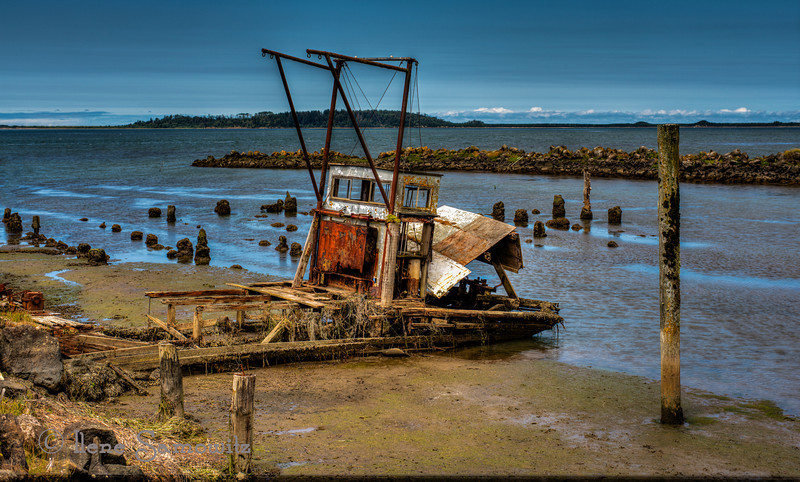 7-28-12 Shipwreck at Bay City, Oregon - this boat is visible from the Bay City Pier behind the Pacific Oyster Company.  It  can be seen at lower tides of Tilllamook Bay.  I searched the internet to see if it had a name but came up empty.  I think I will try to photograph all the shipwrecks in Oregon.  I now have two.  Some are only seen at very specific times of the year like the one in North Bend.  I will have to do the research and get a schedule together but it will be a fun project.