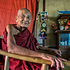 Elderly monk allows me to make his portrait, along the route from Mandalay to Inle Lake