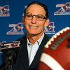 Montreal Alouettes head coach Mark Trestman speaks to reporters at a news conference last year in Montreal.  (AP Photo/The Canadian Press, Ryan Remiorz, File)