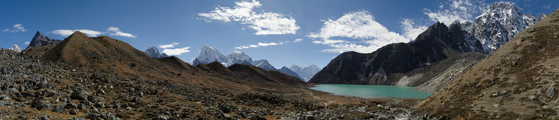 Panoramic photo of the second sacred lake in the Gokyo Valley with towering Himalayas all around. Solukhumbu, Nepal.