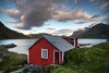 """Red Cabin in the Fjord""<br /> Lofoten, Norway<br /> June 2014"