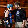 0125 Talk Talk<br /> <br /> Did I mention last Saturday's bout was intense?  Coach John tries to find the right combination of words to fire up, settle down and inspire (all at once) Furies jammer Wonder Dread.