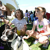 Ashley King, 10, of Avon, Laura Freeman, 9, of North Ridgeville, and Erin Till, 7, of Avon, listen as they learn about the different breeds of dogs, including french bulldogs Pinky and Coco, at Meet the Breeds on Aug. 16. KRISTIN BAUER | CHRONICLE