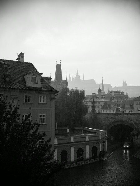 View from our hotel room across Charles Bridge to Prague Castle