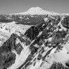 Mt Rainier as seen from the crater rim of Mt St Helens.  Mt St Helens, Washington USA