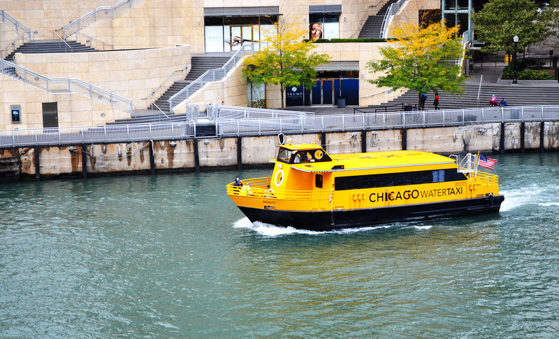 Water Taxi on Chicago River in Chicago IL