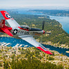 Composit image of a P-51 Mustang flying over Gig Harbor, Washington.