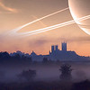 27.01.15 - Under Alien Skies<br /> <br /> I don't know how many other people saw them, but last week some guys at the Russian Federal Space Agency produced some beautiful images of world cities under alien skies. They imagined what the sky would look like with the other planets in the solar system orbiting Earth in place of the Moon, and if we orbited other stars, they were breathtaking images and I was determined to try something similar. Anyway, this is one of my efforts, a ringed planet rising behind Lincoln Cathedral at dawn, I hope you like it :)