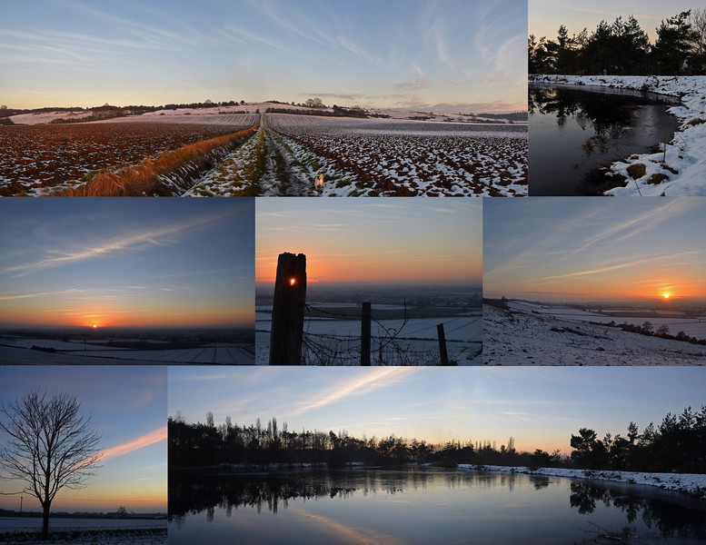 28.12.14 - Snowy Sunset<br /> <br /> We've not had any more snow but the freezing temperature has meant that what fell the other night hasn't all melted yet. It made for a beautiful sunset dog walk yesterday, hope you can see Mr Willis in the top panorama?