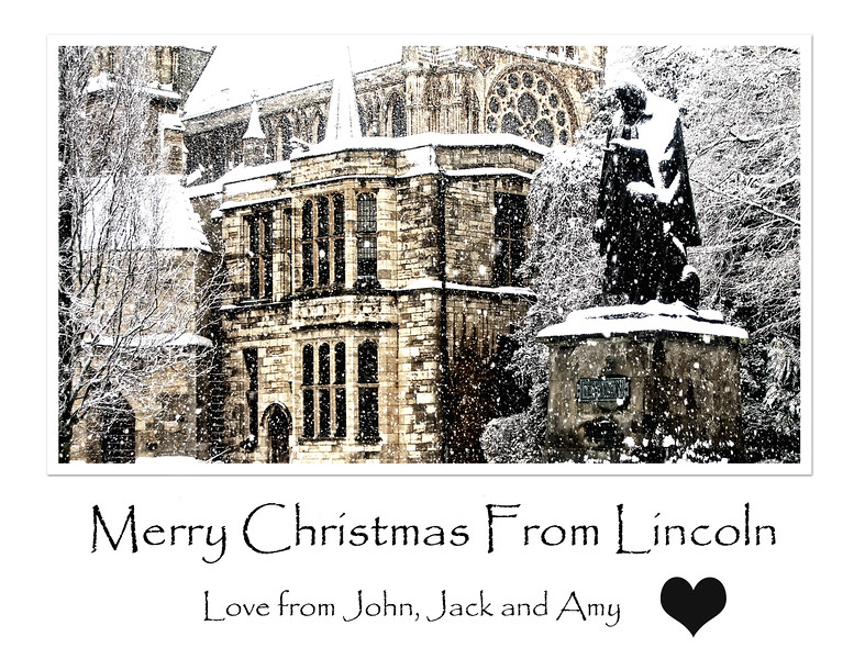 "23.12.14 - Merry Christmas :)<br /> <br /> I think we've only had one ""white Christmas"" in Lincoln in my lifetime, but we live in hope :)<br /> <br /> The statue here in front of the Cathedral is Tennyson, a local boy done good!"