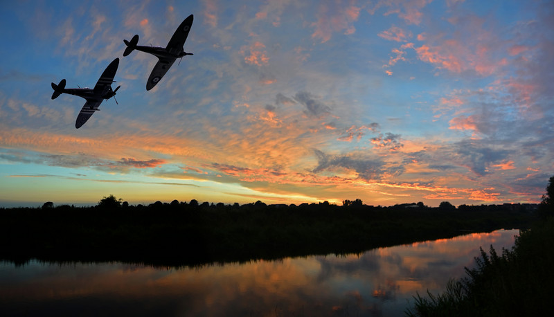 12.07.14 -The Last of the Few<br /> <br /> This is a composite image of two Spitfires from the Battle of Britain Memorial Flight superimposed on a 3 shot photomerge panorama of the sunset a couple of nights ago. I've had this idea in my head for a while.