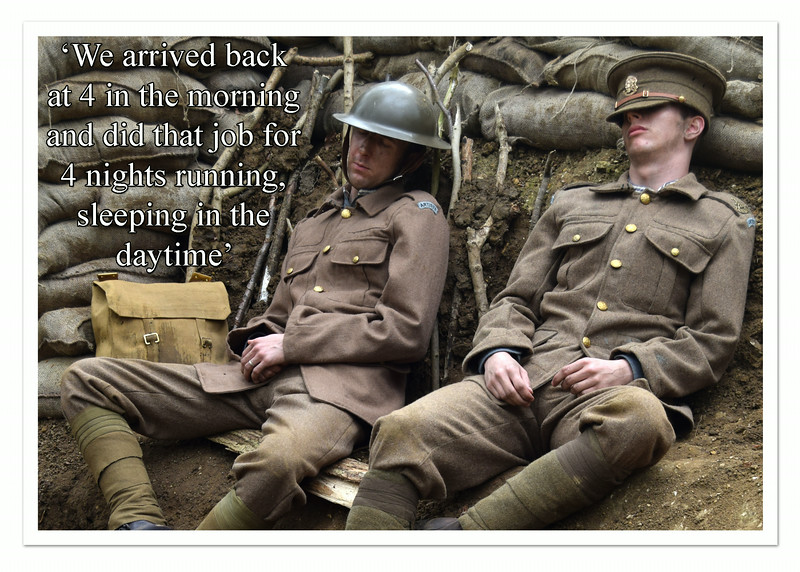 27.08.14 - Sleep<br /> <br /> I did some more experimenting with matching stills from the film with quotes from Robert Crowder's letters from the Front to produce publicity postcards for Tell Them of Us yesterday. I've been struggling with a bad back since the weekend and have had to cancel some work this week. It is also difficult sitting at the computer for any length of time, but I have to be fit enough for tomorrow and Saturday as both are big filming days. As the filming draws to a close we are moving onto publicity material and planning film showings etc, it is all fascinating and keeps the creative juices flowing :)