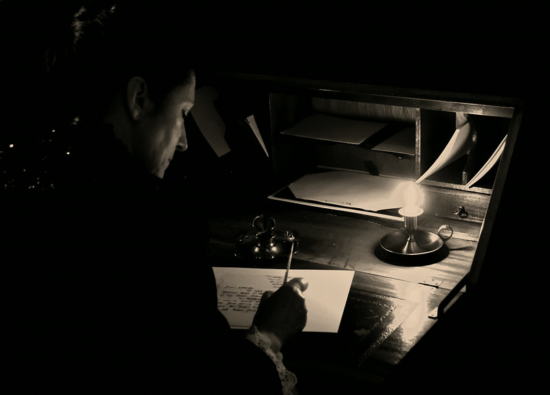 31.07.14 - Dear Sir..............<br /> <br /> Another shot from the film shoot last Monday, but I only worked on it last night. I'd always envisaged this scene in monochrome to emphasise the low light from the candle.