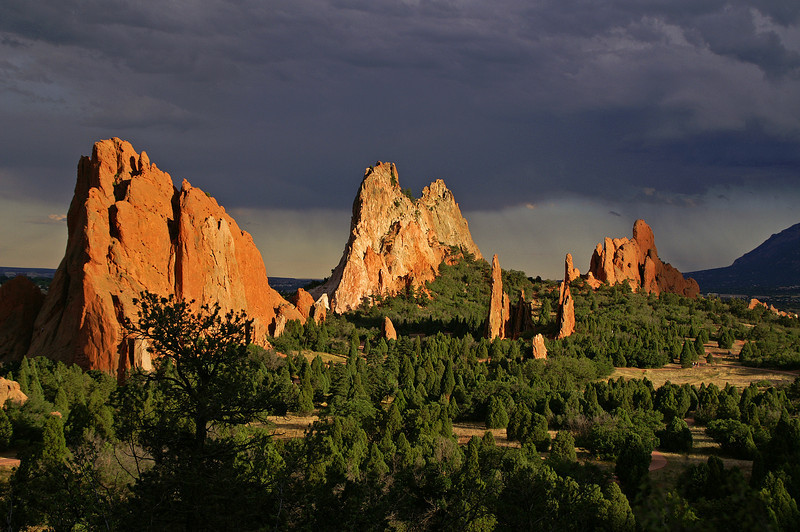 Garden of the Gods in Colorado Springs has fantastic views, throw in a thunder storm and things get real interesting. Sharp eyed viewers will spot a climber on one of the formations.