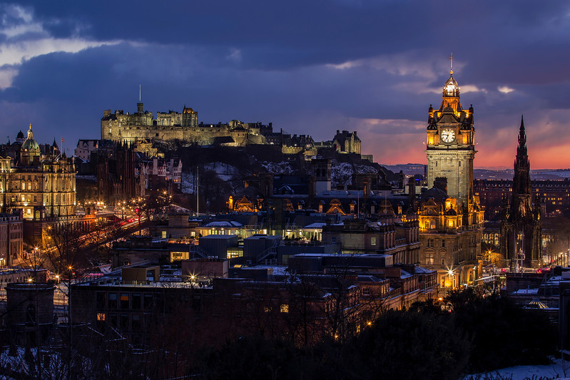 Winter View of Edinburgh Castle During Twilight