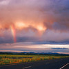 east of Bozeman, Montana on I-90, dawn rainbow, July 20, 2001
